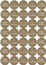 Handmade With Love Craft Stickers 37mm Round Matt Labels